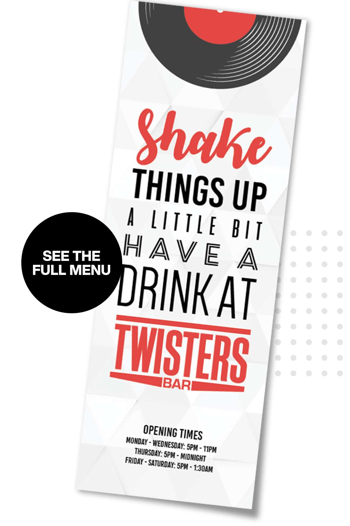 See the Twisters Bar menu