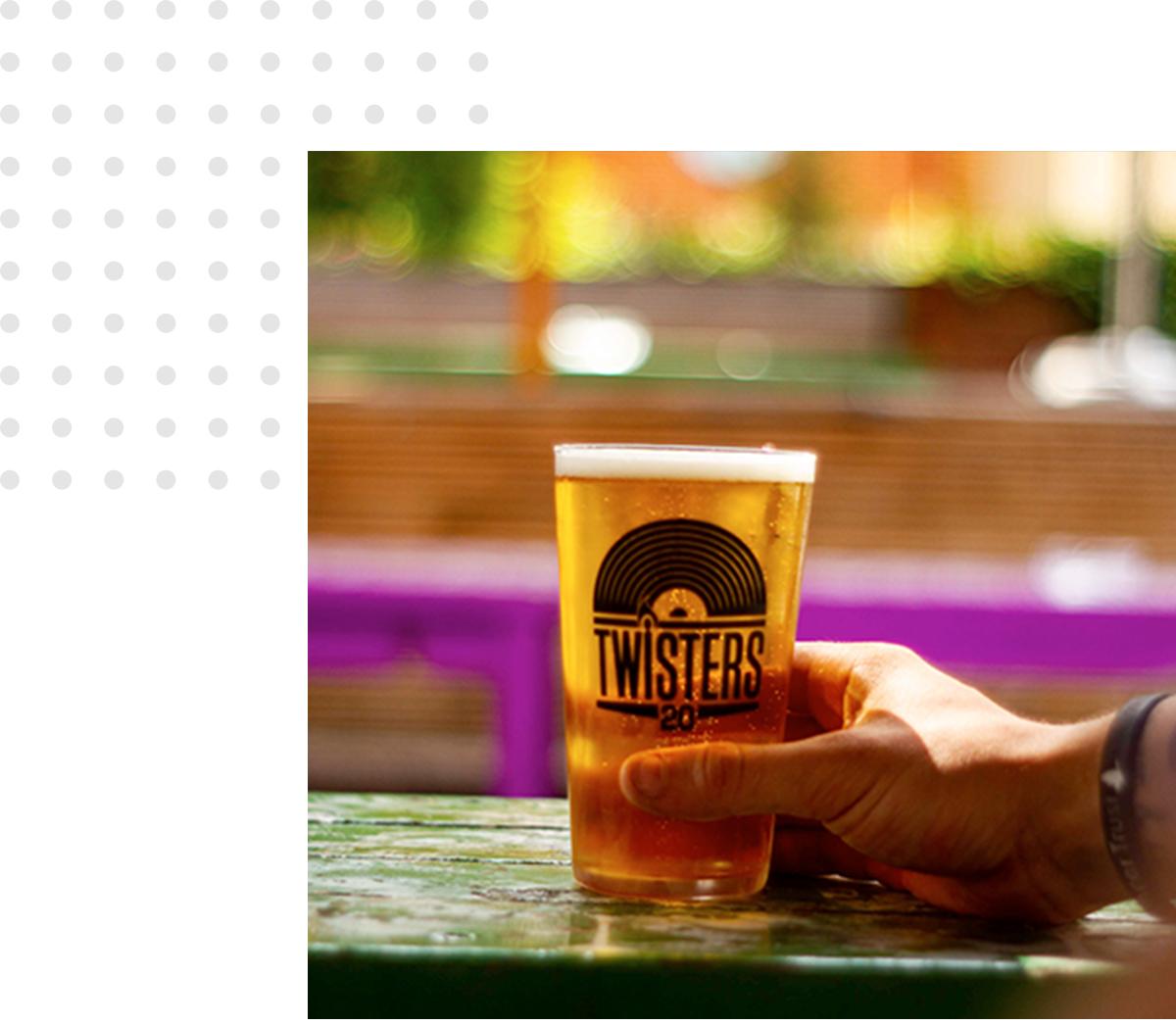 Teapot shots in Twisters' beer garden